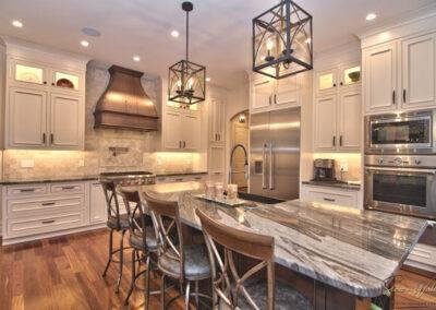 custom kitchen backsplash and hardwoods